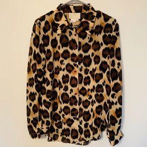 Cache Leopard Button Down Blouse 10